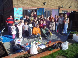 All the volunteers who helped to paint the murals at the house.